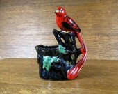 Vintage Bird on Planter Long Tailed Red Tropical Exotic Figural Black Redware Pot