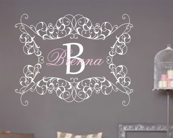 Girl Name Monogram Wall Decal Vinyl Baby Nursery Decor