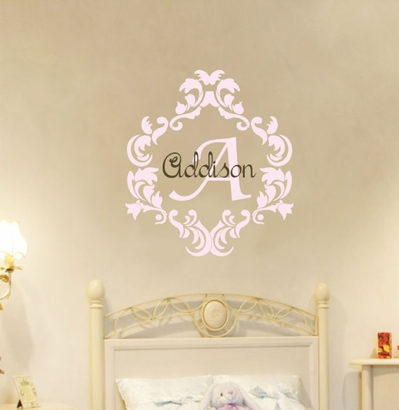 Baby Girl Name Wall Decal Damask Wall Decal Nursery Monogram Vinyl Lettering Wall Sticker Baby Girl Monogram Decals