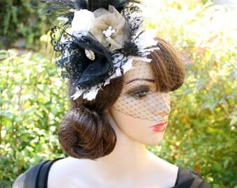 """Custom DECO FEATHER HEADDRESS """"Astrid"""", Birdcage Veil, Custom colors, Vintage Hats by Vegas Veils"""