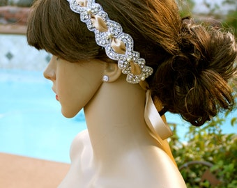 "Crystal and PEARLS BRIDAL HEADBAND, Diamond Pearl Headpiece ""Venus"" by Vegas Veils. Ready to ship."