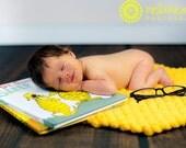 Pom Pom Blanket Newborn Photo Prop Bright Golden Yellow Floor Mat Basket Filler Ready to Ship
