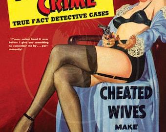 Women in Crime (Jun 1948) - 10x14 Giclée Canvas Print of Vintage Pulp Detective Magazine