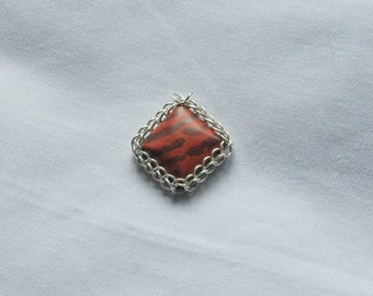 Chainmail-wrapped Tiger Striped Jasper Square Pendant