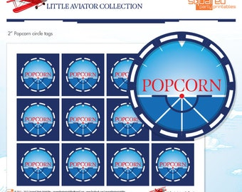 """LIttle Aviator Printable Birthday 2"""" Popcorn Tags - Red and Blue - DIY Print - Airplane Party - Instant Download"""