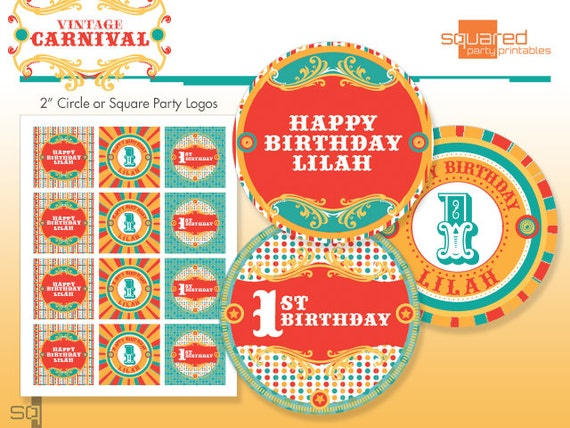 Vintage Circus Cupcake Toppers - Printable Carnival Birthday Party Circles & Logo Package - Original Colors - DIY Print - Made to Order