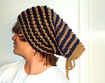 Men's  Slouch-Women Slouchy Beanie- Mens Beanie Hat Knitted  Camel Black Navy Blue Stripes.
