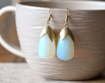Chunky Glass & Brushed Brass Teardrop Earrings