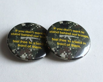 Support Our Troops - Camouflage - Keychain, Button, Magnet