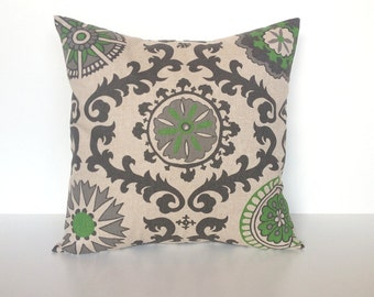 70% OFF CLEARANCE Organic Green Decorative Throw Pillow Cover. 16x16 Inch Suzani Couch Pillow Cover