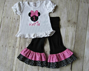 Pink and Black Minnie Mouse Outfit - Minnie Mouse Birthday Outfit - Girls Birthday Outfit