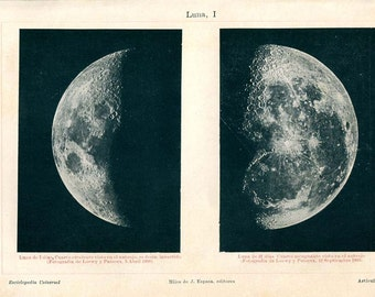 Vintage Print of the Moon, Monochrome, Moon Phases, Lunar Surface