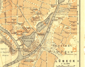 Lubeck City Map, Northern Gemany, Baedeker Original Antique Street Plan