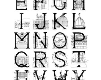 Glasgow Alphabet (Monochrome) - Medium A3 Poster / Print
