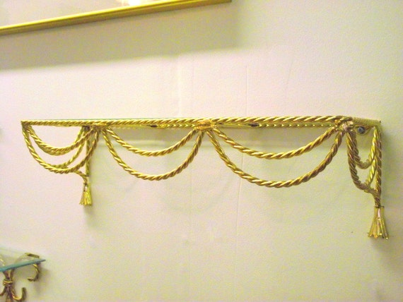 Hollywood Regency Gold Tassel Rope Wall Shelf Wall Decor