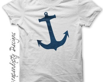 Nautical Iron on Shirt PDF - Anchor Iron on Transfer / Mens Nautical Shirt / Baby Boy Anchor Tshirt / Blue Sailing Design / Digital IT239-R