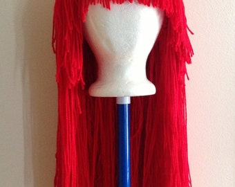Handmade Crochet yarn Hat Hair wig,women, baby, kids,red hair, wig, yarn hair, yarn wig, hat wig Halloween wig costume