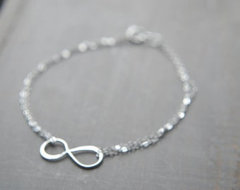 Silver Infinity Bracelet - Sterling Silver Sideways Infinity | Infinite Love | Trendy Modern Jewelry | Everyday Bracelet | Simple Jewelry