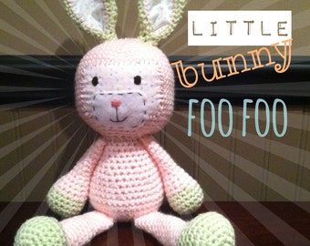 Crochet bunny toy stuffed animal, softie, amigurumi, made to order FREE US SHIPPING