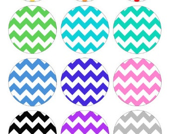 Chevron Zig Zag Pattern Bottlecap Images / Rainbow colors / Digital Collage Printable 1-Inch Circles / Instant Download / V Designs