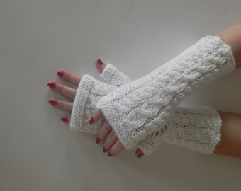 Fingerless gloves, arm cuffs in white,Hand knitted,Arm warmer,Christmas gift