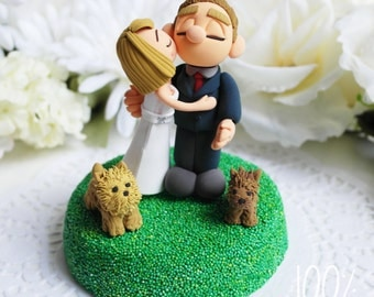 Custom Cake Topper- Kissing couple with puppies
