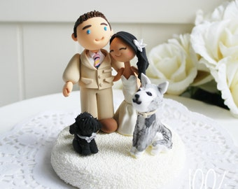 Custom Cake Topper- Couple with 2 dogs