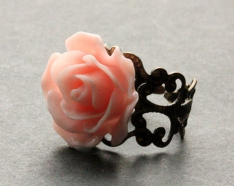 Peachy Pink Rose Ring. Peach Pink Flower Ring. Filigree Ring. Adjustable Ring. Flower Jewelry. Handmade Jewelry.