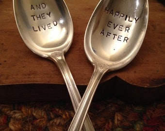 Hand Stamped Silver Soup Spoons, Vintage Soup Spoons, Ice Cream Spoons, Wedding Gift, Unique Gift, Christmas Gift, Shower Gift, Bridal