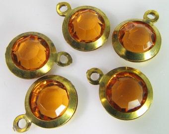 10 Vintage Topaz Lucite Brass Bezel Channel Set Faceted Charms Pendants Drops Pd589