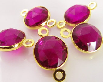 8 Vintage 18x10mm Fuchsia Goldplated Channel Set Lucite Faceted Connectors Con198