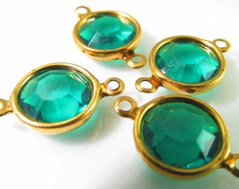 8 Vintage 18x12mm Emerald Green Lucite Faceted Channel Set Gold-plated Connectors Con216