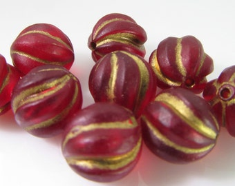 30 Vintage 9mm Matte Ruby Red and Gold Carved Lucite Beads Bd1129