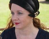 20s Cloche Hat Lavinia Sculpted Cloche Black Fur Felt Velour with vintage brooch