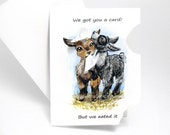 Funny Card, Cute Goat Art, Hungry Baby Goats, Thinking of You, Blank Greeting Card, Personalized Card, Custom Card, Happy Birthday Card