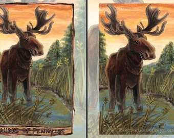 Moose Art, Custom Print Size, Forest Animal, Nine of Pentacles Tarot Card, Animism Tarot, Nature Lover Gift, Canada Decor, Wildlife Poster