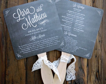 Chalkboard Fan Wedding Programs