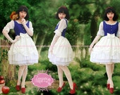 Snow White Dress Blue White Lace Lolita Fashion - Snow White Costume - Snow White Birthday - Custom to your size Snow White Dress