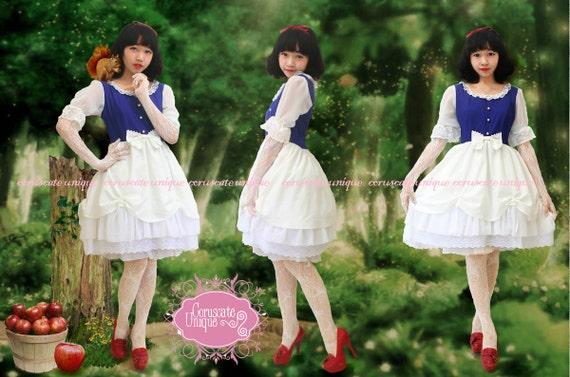Snow White Dress Blue White Lace Lolita Fashion - Snow White Costume - Snow White Birthday - Custom to your size Snow White Dress