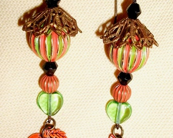 "Handmade HALLOWEEN EARRINGS, Vintage Components, Enameled Beads + Jack-O-L:antern Dangles - ""Pumpkins & Parasols"""