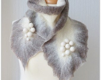 Finnish winter gray. Wet felted warm gray and white scarf with pompoms