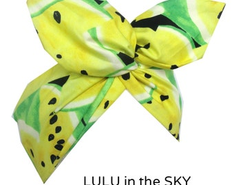 Bright yellow and lime juicy fruit Watermelon print wire Rockabilly Pin up headband hair wrap