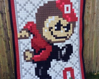 OSU Ohio State Digital 8-bit Brutus Buckeye Quilt (Made to order)
