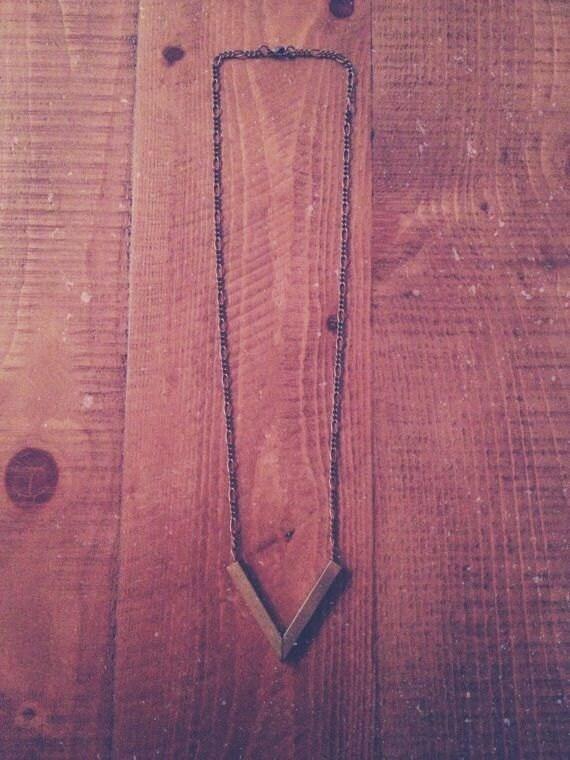 brass chevron arrow necklace.