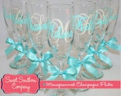 9 Monogrammed Bride and Bridesmaids Champagne Flutes, Personalized Wedding Glasses