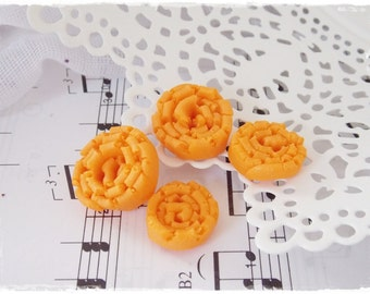 Canary Yellow Buttons, Small Round Buttons, Handmade Abstract Buttons, Pastel Orange Buttons, Swirl Polymer Clay Buttons, Artistic Buttons