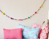 Multicolor beads / pompoms garland - 4.5 ft - colorful wall decoration kids and babies room