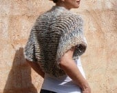 Mona Lisa - Luxuriously Soft Fuzzy Mustard Cream Brown Grey Earth Color Shrug By Eva Bella