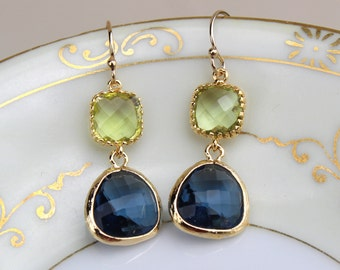 Peridot Green Earrings Sapphire Navy Gold Plated Glass - Bridesmaid Earrings - Wedding Earrings - Bridesmaid Jewelry - Wedding Jewelry