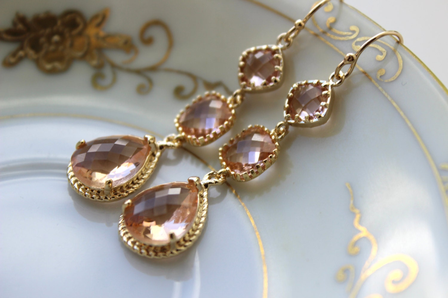 Champagne blush earrings gold three tier peach blush for Jewelry for champagne wedding dress